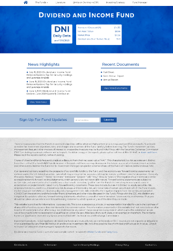 Dividend and Income Fund Website Screenshot