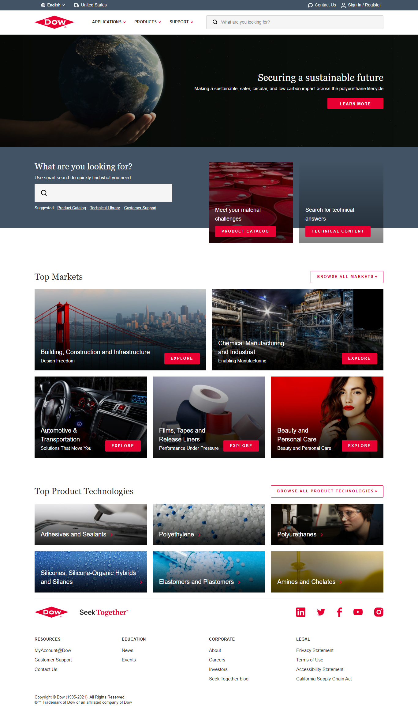 Dow Inc. Website Screenshot