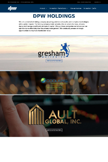 DPW Holdings, Inc. Website Screenshot