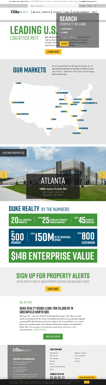 Duke Realty Corporation Website Screenshot