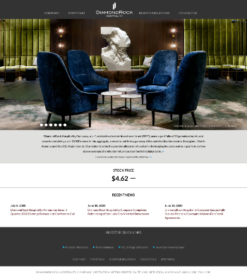 DiamondRock Hospitality Company Website Screenshot