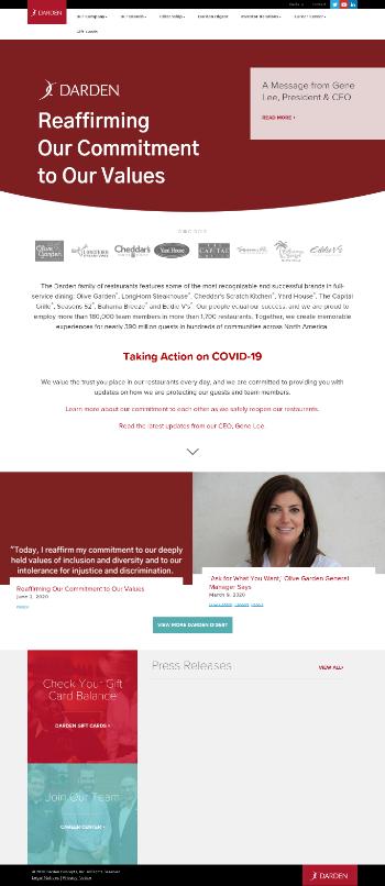 Darden Restaurants, Inc. Website Screenshot
