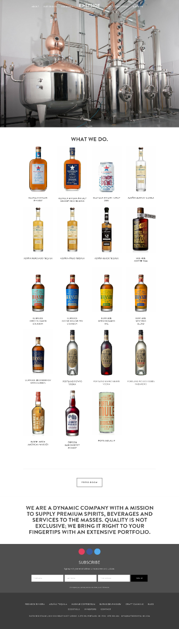 Eastside Distilling, Inc. Website Screenshot
