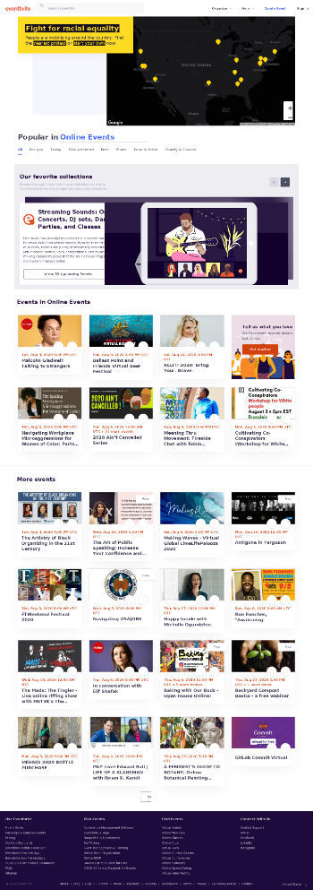 Eventbrite, Inc. Website Screenshot