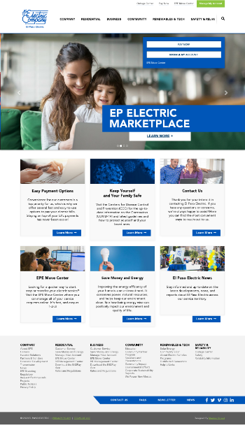 El Paso Electric Company Website Screenshot