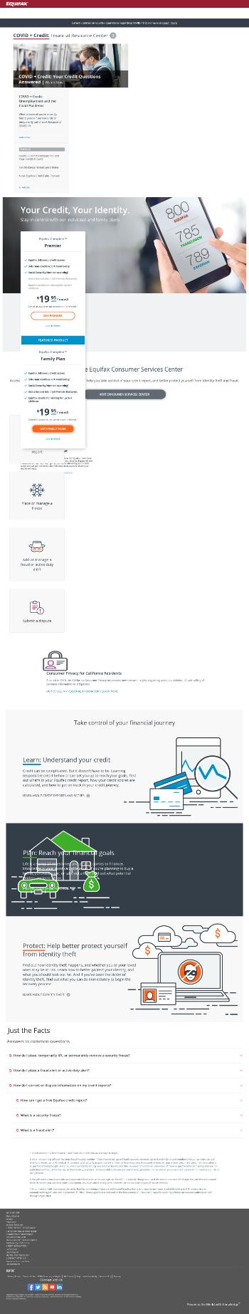 Equifax Inc. Website Screenshot