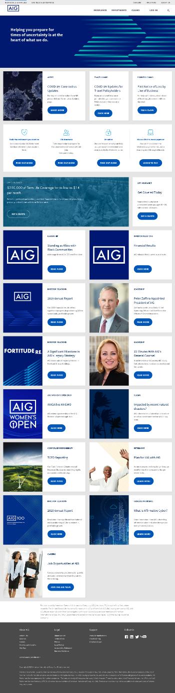 American International Group, Inc. Website Screenshot