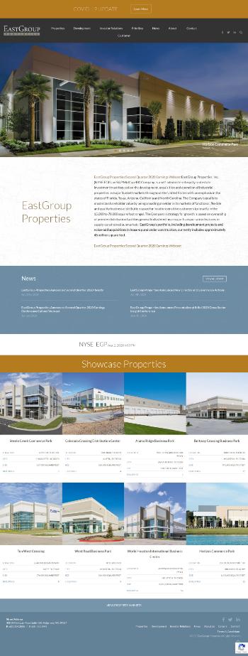 EastGroup Properties, Inc. Website Screenshot