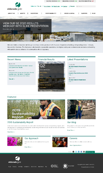 Eldorado Gold Corporation Website Screenshot