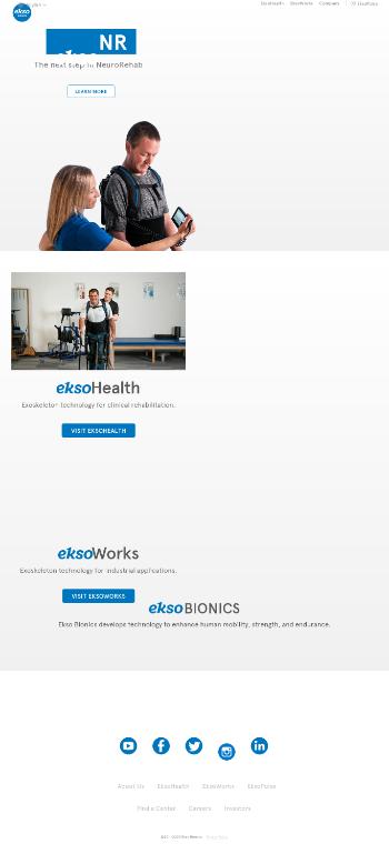 Ekso Bionics Holdings, Inc. Website Screenshot
