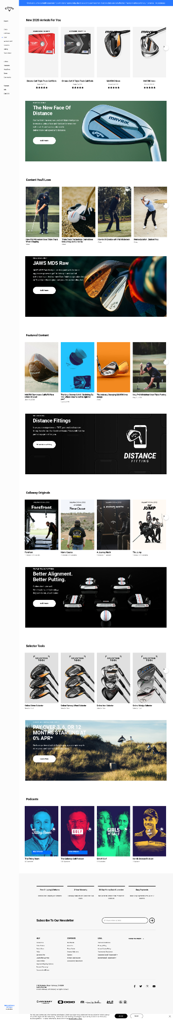 Callaway Golf Company Website Screenshot