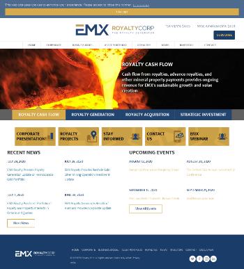 EMX Royalty Corporation Website Screenshot