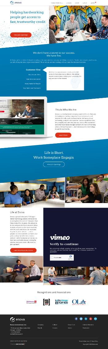 Enova International, Inc. Website Screenshot