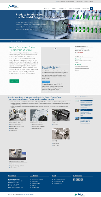Altra Industrial Motion Corp. Website Screenshot