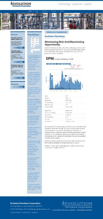 Evolution Petroleum Corporation Website Screenshot