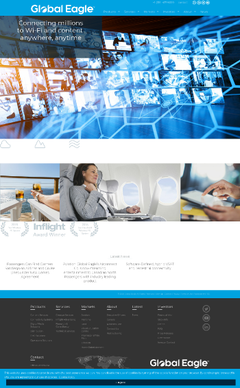 Global Eagle Entertainment Inc. Website Screenshot