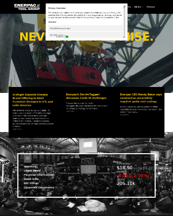 Enerpac Tool Group Corp. Website Screenshot
