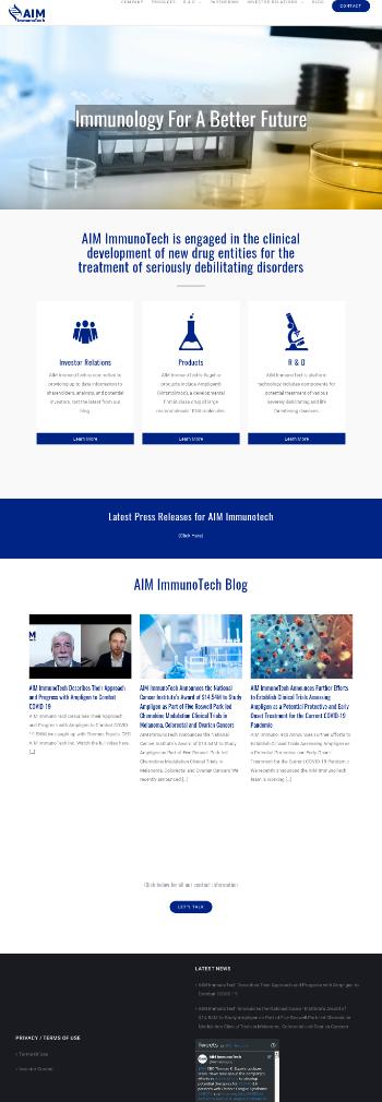 AIM ImmunoTech Inc. Website Screenshot