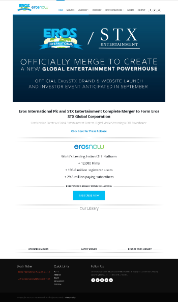 Eros International Plc Website Screenshot