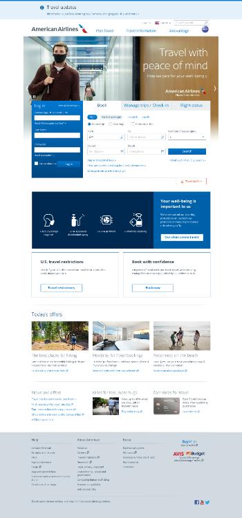 American Airlines Group Inc. Website Screenshot