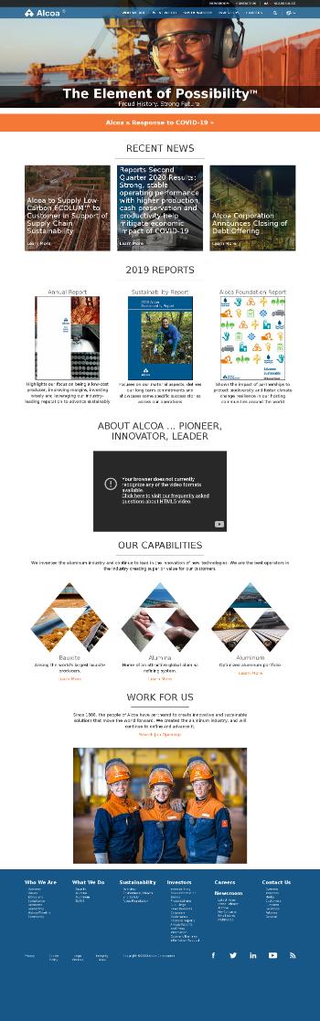 Alcoa Corporation Website Screenshot