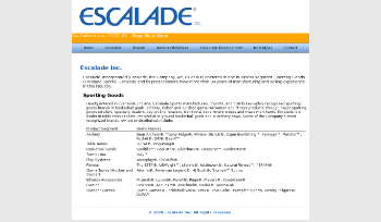 Escalade, Incorporated Website Screenshot