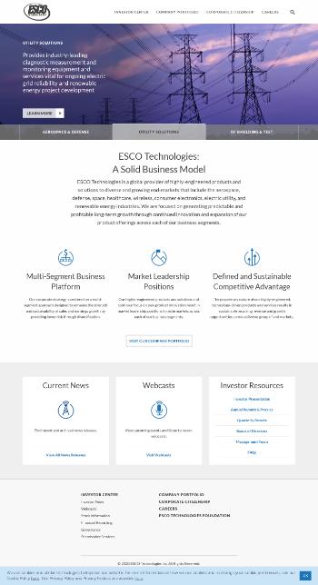 ESCO Technologies Inc. Website Screenshot