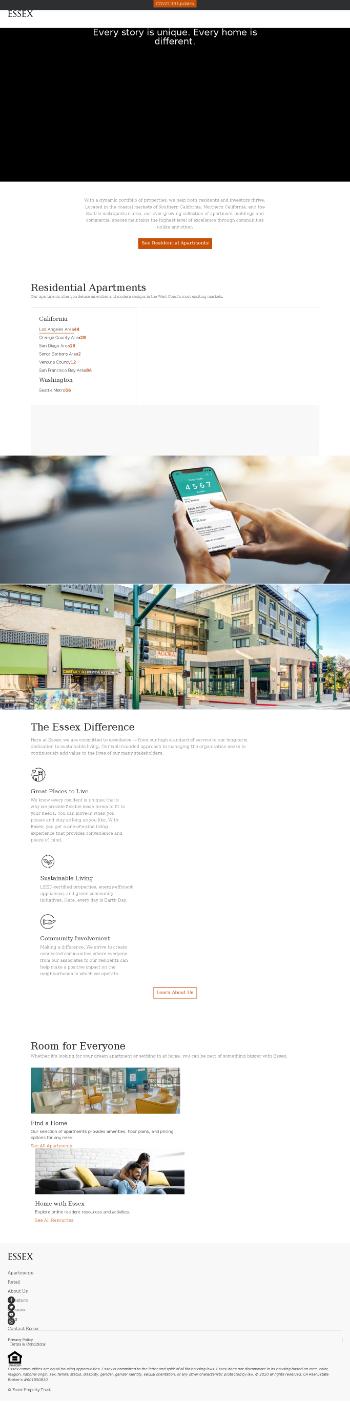 Essex Property Trust, Inc. Website Screenshot