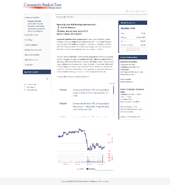 Community Bankers Trust Corporation Website Screenshot