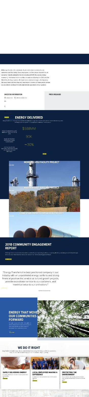 Energy Transfer LP Website Screenshot