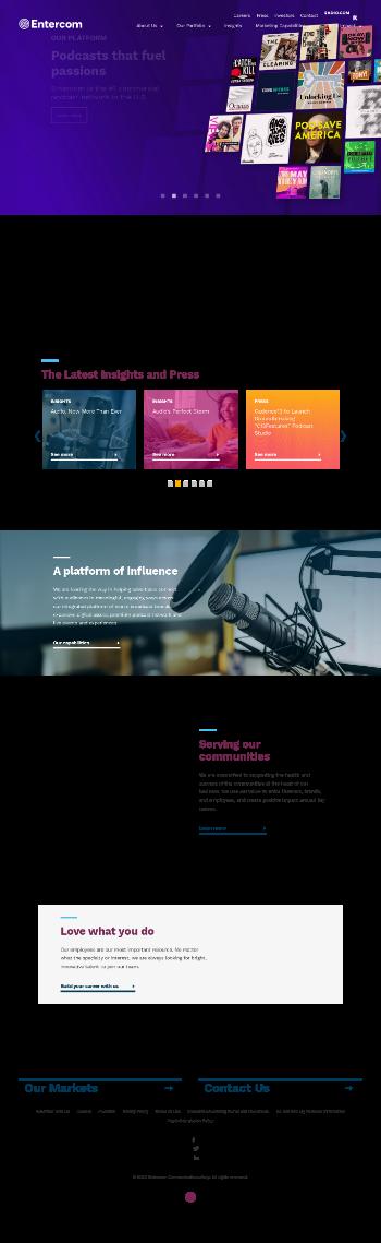 Entercom Communications Corp. Website Screenshot