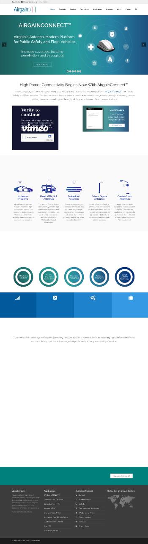 Airgain, Inc. Website Screenshot