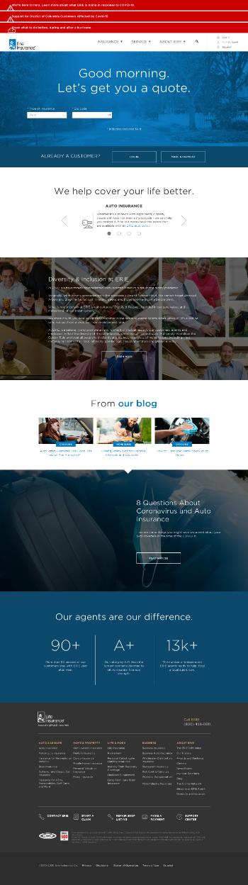 Erie Indemnity Company Website Screenshot