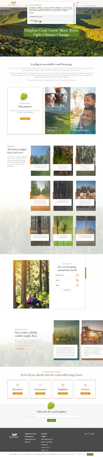 Enviva Partners, LP Website Screenshot