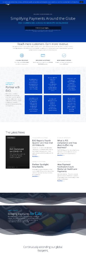 EVO Payments, Inc. Website Screenshot