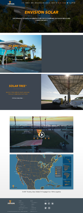 Envision Solar International, Inc. Website Screenshot