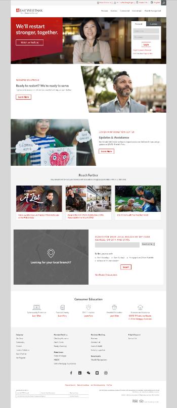 East West Bancorp, Inc. Website Screenshot