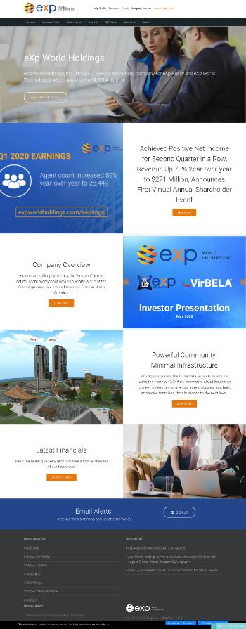 eXp World Holdings, Inc. Website Screenshot