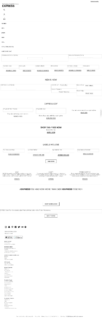 Express, Inc. Website Screenshot