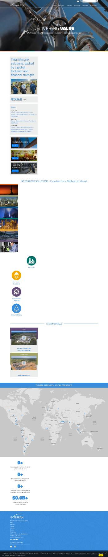 Exterran Corporation Website Screenshot