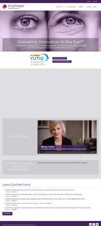 EyePoint Pharmaceuticals, Inc. Website Screenshot