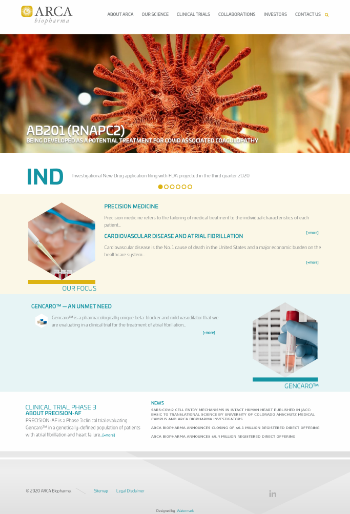 ARCA biopharma, Inc. Website Screenshot