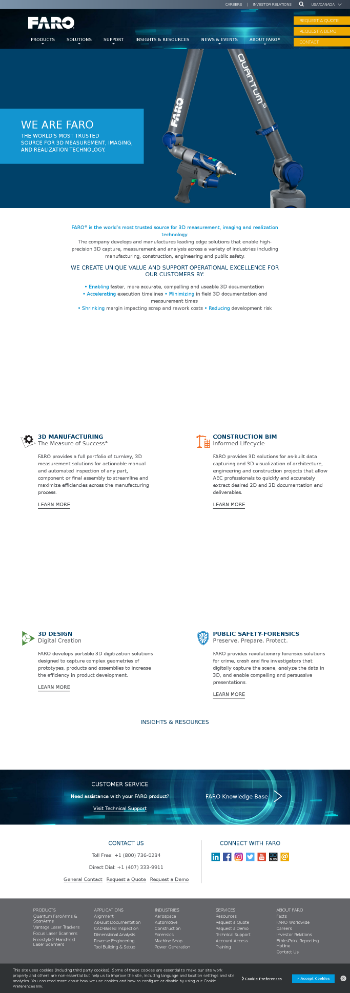 FARO Technologies, Inc. Website Screenshot