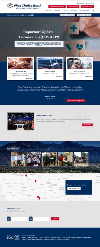 First Choice Bancorp Website Screenshot