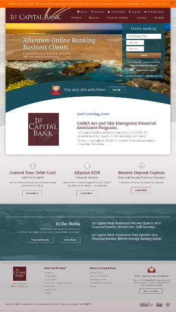 1st Capital Bank Website Screenshot