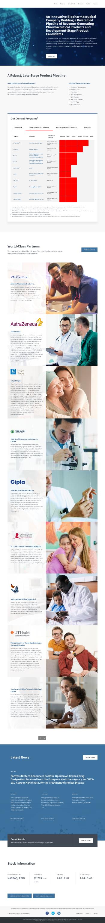 Fortress Biotech, Inc. Website Screenshot