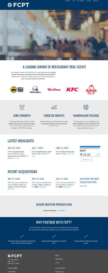 Four Corners Property Trust, Inc. Website Screenshot