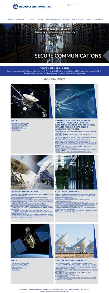 Frequency Electronics, Inc. Website Screenshot