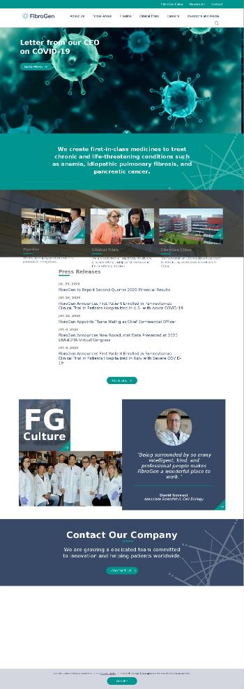 FibroGen, Inc. Website Screenshot