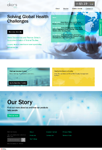 Akers Biosciences, Inc. Website Screenshot